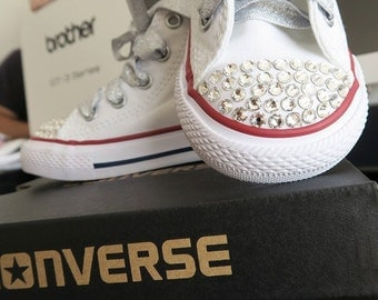Kids Hi Top Converse All Star shoes w/ Swarovski Crystals & ribbon
