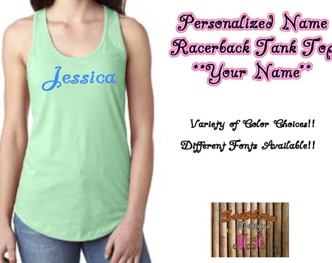 Personalized Tank Top, Custom Name Tank, Bridesmaids Gifts
