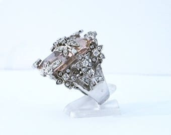 Big flowers and butterflies and multipierres silver ring