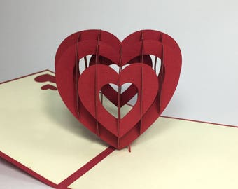 Pop Up Heart - 3D Handmade Valentine's Day Card - Pop Up Love Card - 3D Happy Wedding/Anniversary Card - Kirigami Proposal/Engagement Card
