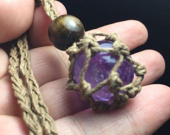 Amethyst crystal pure hemp exchangeable pouch necklace