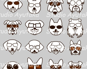 dog hipster faces set,dog clip art, dogs with glasses and mustache, monochrome dogs clipart, dogs line art