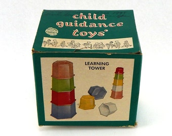 Vintage Child Guidance Toys By Archer Plastics INC BRONX NY - Learning Tower - No. 90  Ages 1 - 4  - Very Rare! Mid Century Toys