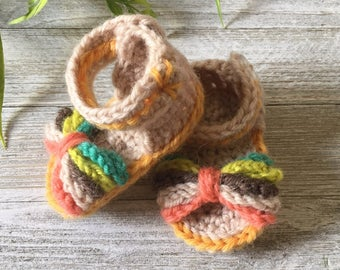 Girls Crochet Sandal; Crochet Baby Sandal; Crochet Bow Sandals; Toddler Crochet Sandals