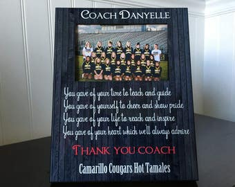 Coach picture frame gift / Soccer, basketball, football, Gymnastics, Team Coach, Cheerleading / End of Season thank you Gift for coach / 4x6