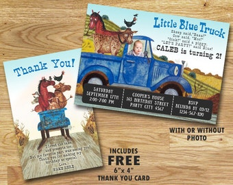 Little Blue Truck Birthday Invitation // Photo Invitation // With FREE Thank You Card