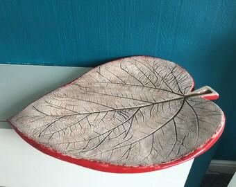 Handmade ceramic leaf fruit plate; Unique Fruit Plate; Decorative Plate, Pottery Leaf
