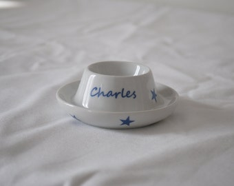 Personalised egg Cup contemporary blue stars
