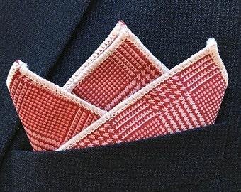The Red Elegance, Pocket square, Red pocket square, Wedding pocket squares, men pocket square ,Einstecktuch, dapper, dandy, elegant