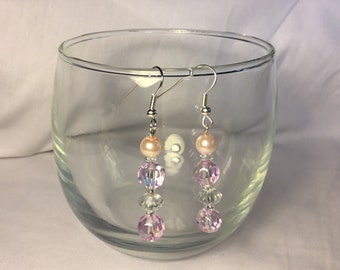 Silver plated pink and white bead earring, pink and white bead drop earring, pink pearlised bead drop earring