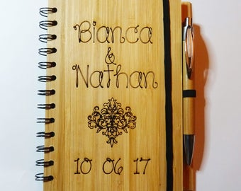 Personalized wooden guest book, wedding engraved guest book