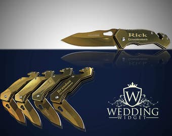 6 Groomsmen engraved knifes - Best Man gift set - Personalized custom engraved knife set - Wedding gifts and Mementos - Bridesmaid gifts