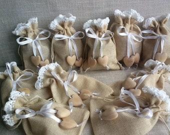 Linen gift bags , Natural linen bag, Wedding favor bags, Linen Bags with Lace, Small linen bags, Christmas bags, Gift Bags Lace bags heart