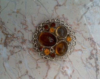 20% off Beautiful Yellow Amber Crystal Rhinestone Glass Fruit Round Filigree Pin Brooch // Costume Brooches Jewelry