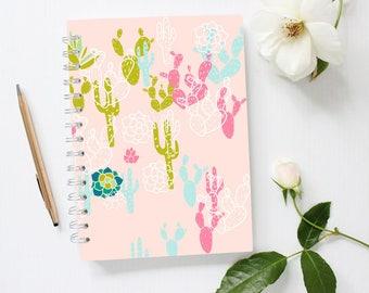 Cactus Notebook, Pink Notebook A4, Cute Notebook, Lined Notebook, Spiral Notebook, Large Notebook, Cactus Decor,