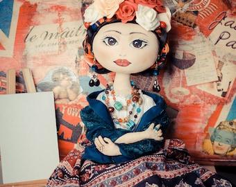 Frida Kahlo doll mexican painter Custom dolls Personalized OOAK doll Art doll Rag doll Frida doll portrait dolls fabric doll cloht doll gift