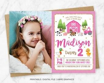 Pink Farm Birthday Invitation, Girl Farm Invitation, Farm Animals Invitation, Girl Farm Birthday, Pink Farm Party, Pink Barnyard, Printable