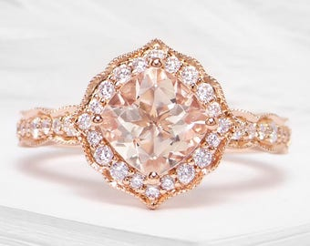Vintage round morganite and diamond ring in 18k rose gold - art deco vintage ring, Rose gold engagement ring, Rose gold wedding ring, 10x10