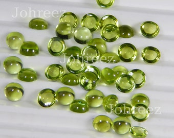 25 Pieces Natural Peridot Round Shape Gemstone Cabochon High Quality Smooth Polished Gemstone