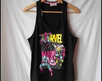 vintage retro MARVEL Comics super heroes  mr america spiderman tee t shirt t-shirt tank top size S M small medium party rock festival