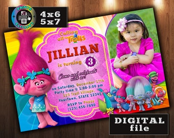 TROLLS Birthday Invitation, Poppy Invitation,Personalized, CUSTOM Digital File, Any age, With Photo (D#3)
