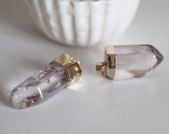 Gold clear Crystal point pendant
