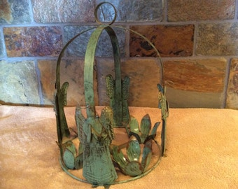 Vintage metal angel candle holder rustic faux patina country western shabby chic home decor Christmas decoration