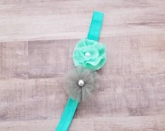 Gray and Turquoise Headband