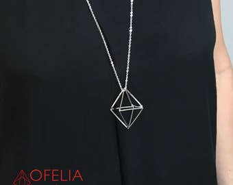 Necklace geometric silver, Pendant 3D, Jewelry minimalistic, silver pendant 3D, Necklace silver, girlfriend gift, woman 18, necklace long