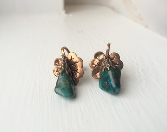 Vintage 1940's Genuine Jade Clip-on Earrings with Bronze Accents
