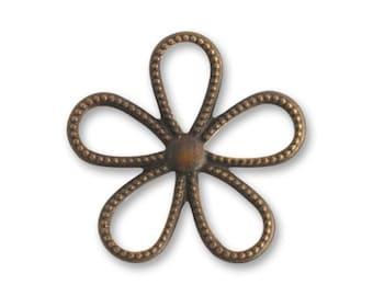 Vintaj Brass Beaded Flower Charm/Pendant/Spacer