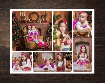 Photo Collage Template 8,5 x 12 #12, 6 photo, Storyboard Template with Normal & Rounded Corners, Photographer Template, PSD template