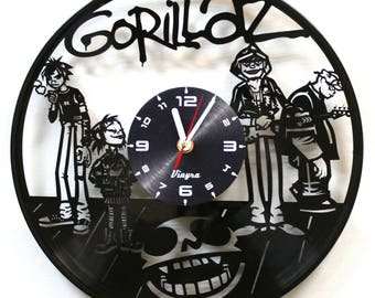 GORILLAZ Vinyl Clock Gorillaz Band Wall Decor Music Lover Gift Anime Decorations Vinyl Art Vintage Pop Poster Record Clock