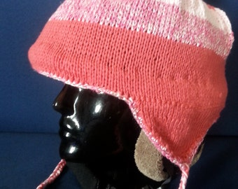 Ski Helmet hat with ear flaps and Inca braids