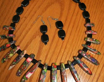 Black and Multi Color Beaded Choker