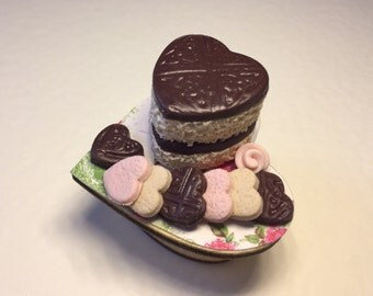 Dollshouse miniature food valentines cake with shortbread on shabby cake stand.polymer clay food1:12 scale