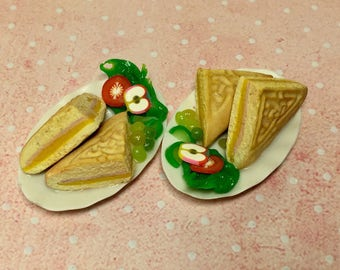 Doll house miniature polymer clay food, toasted ham and cheese sandwich handmade ooak 1:12 scale