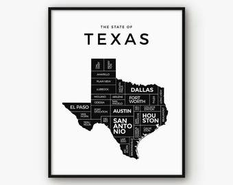 Texas Map, Texas Print, Texas Poster, Texas State, Texas Art, 5x7 Print, Texas Wall Art, Map of Texas, Black and White Map, Printable Map