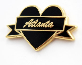 I Heart Atlanta – Black & Gold City Pin