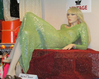 1960's Lime Green sequin gown