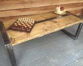 Handmade Industrial Coffee Table Steel and Reclaimed Wood Table Vintage Rustic Design Art Deco Living Spaces Industrial Table End