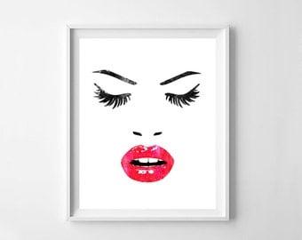Eyelashes print, face print, lips print, printable eyelashes, lashes poster, bedroom wall art, Scandinavian art, room decor, digital file