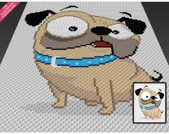 Funny Pug crochet blanket pattern; c2c, cross stitch; knitting; graph; pdf download; no written counts or row-by-row instructions