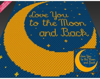 To The Moon crochet blanket pattern; c2c, cross stitch; graph; pdf download; no written counts or row-by-row instructions