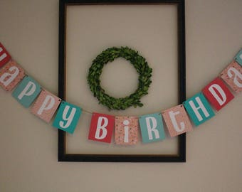 Happy Birthday Banner / Pink, Mint, White, Arrows, & Polkadots / Hanging Banner / Party Decor / Birthday Decorations / Girls Birthday