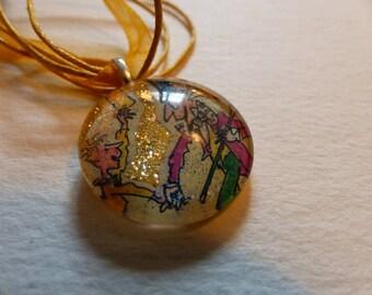 Willie Wonka Chocolate Factory Glass Pendant