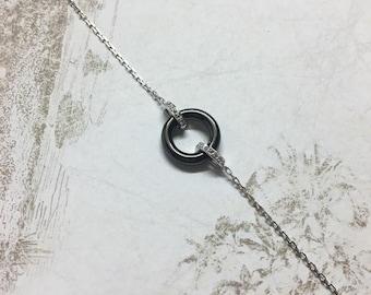 Silver bracelet 925/1000 and Black ceramic.