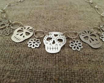 Sterling Silver 'Day of the Dead' choker
