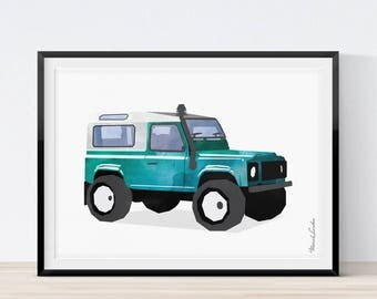Jeep Print, Jeep Wall Art, Transportation Wall Art, Toddlers Room Decor, Watercolor Decor, Nursery Decor, Jeep Printable, Instant Download