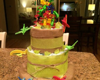Airplane-Themed Baby Boy Diaper Cake